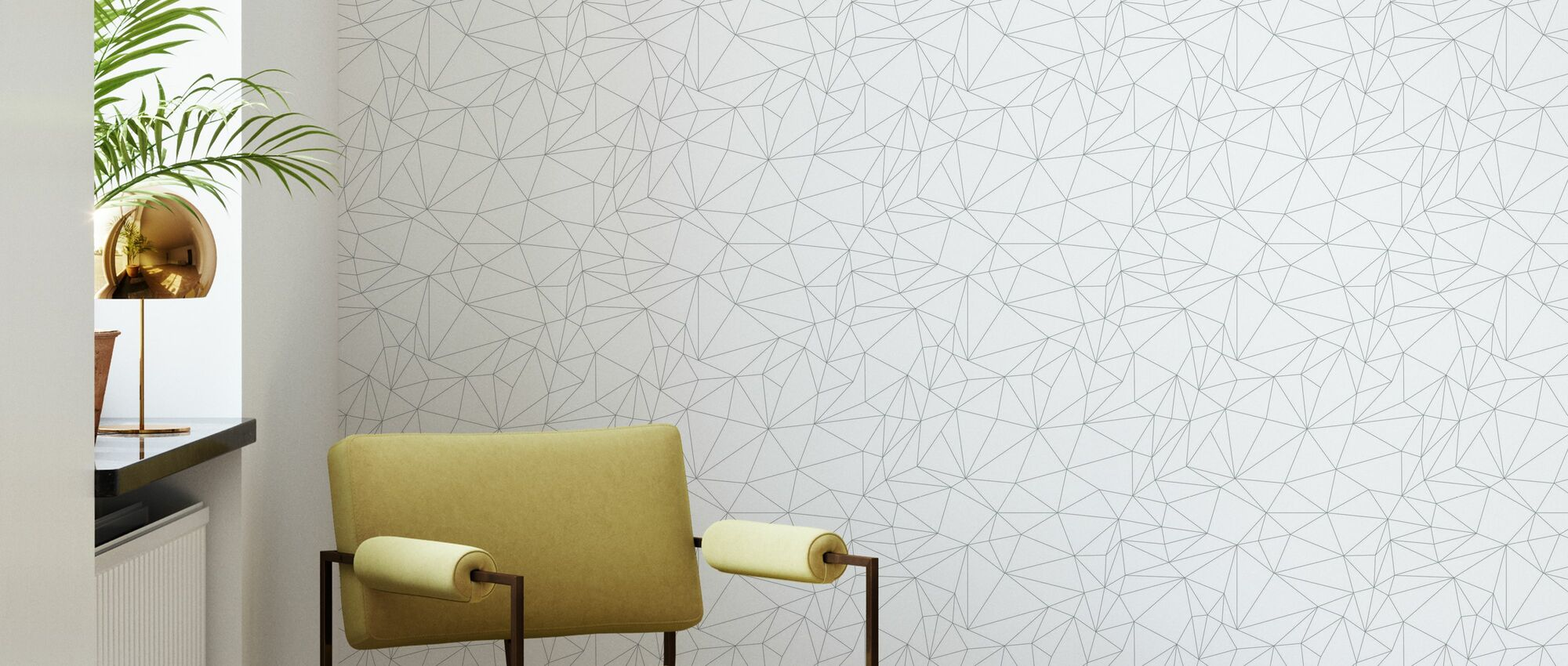 Grafo - White - Wallpaper - Living Room