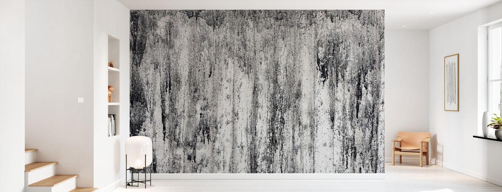 Black Cement Wall - Wallpaper - Hallway