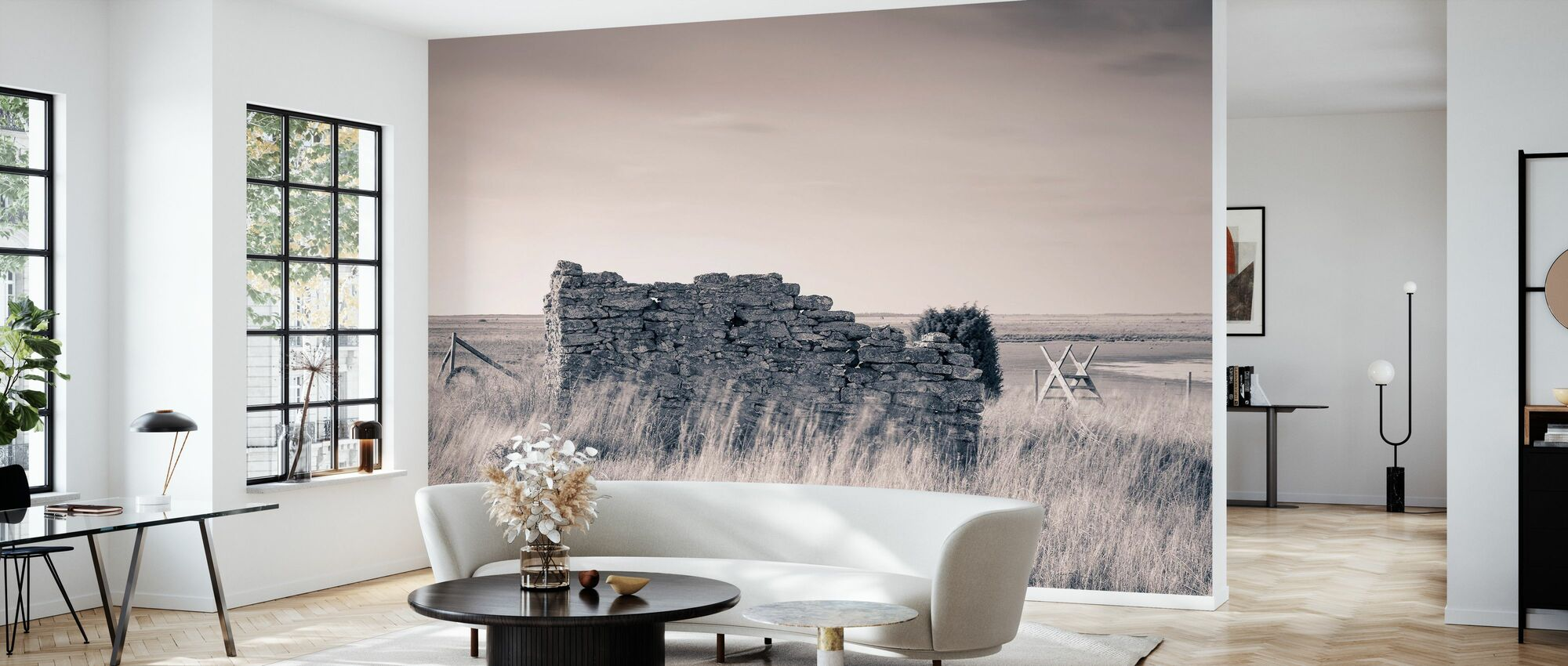 Old Ruin House - Wallpaper - Living Room