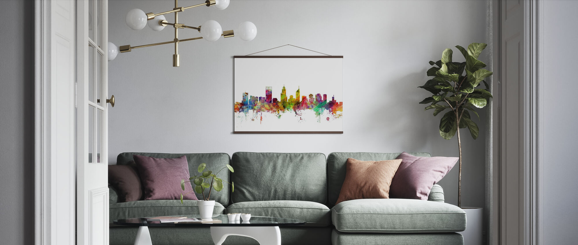 Perth Skyline - Poster - Living Room