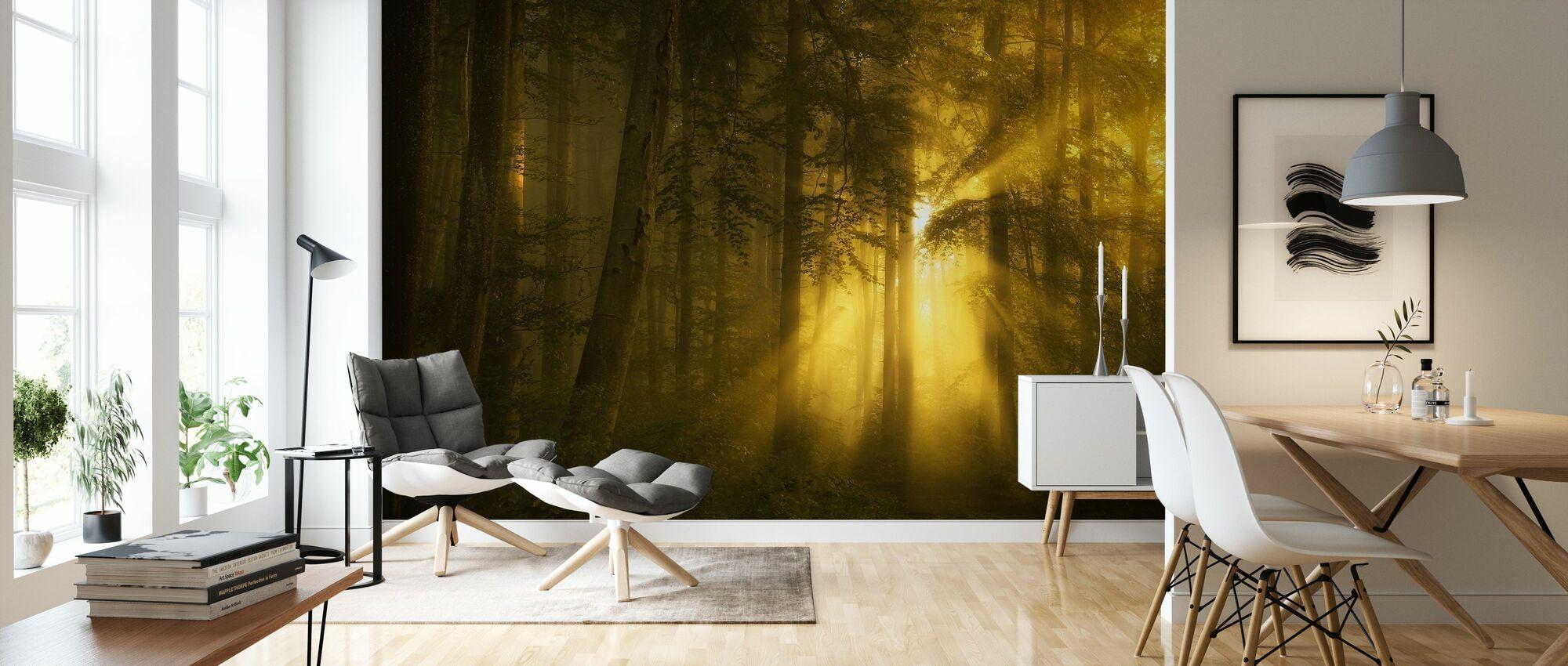 Gele bossen - Behang - Woonkamer