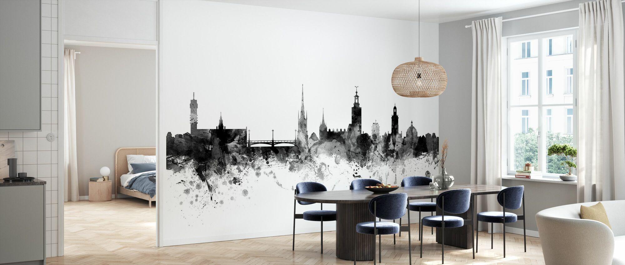Stockholm Skyline Black - Wallpaper - Kitchen