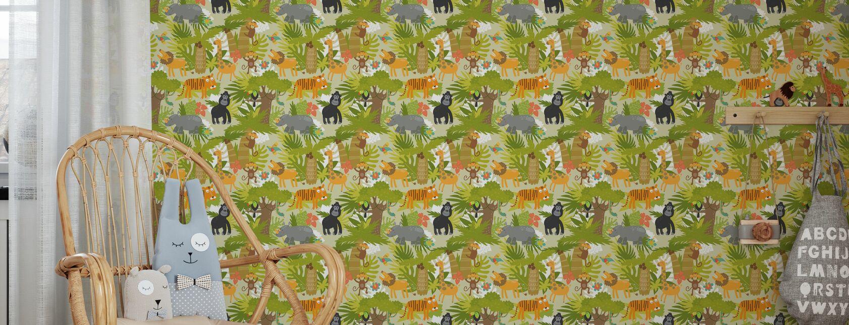 Cute Jungle Animals - Wallpaper - Kids Room