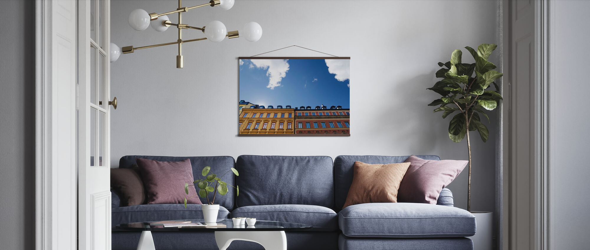 Vivid Colors of Buildings in Stockholm - Poster - Living Room