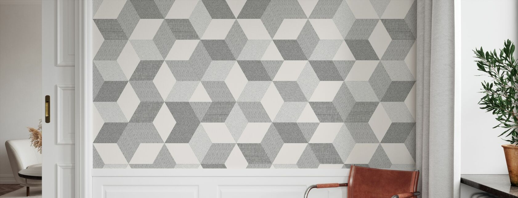 Polygon Off White - Wallpaper - Hallway