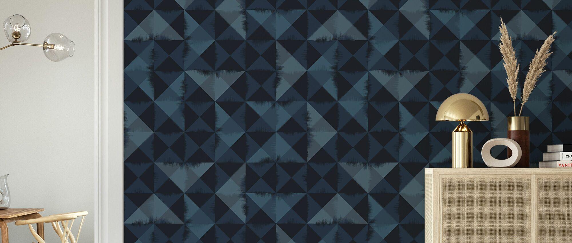 Triangle Brush Blue - Wallpaper - Living Room
