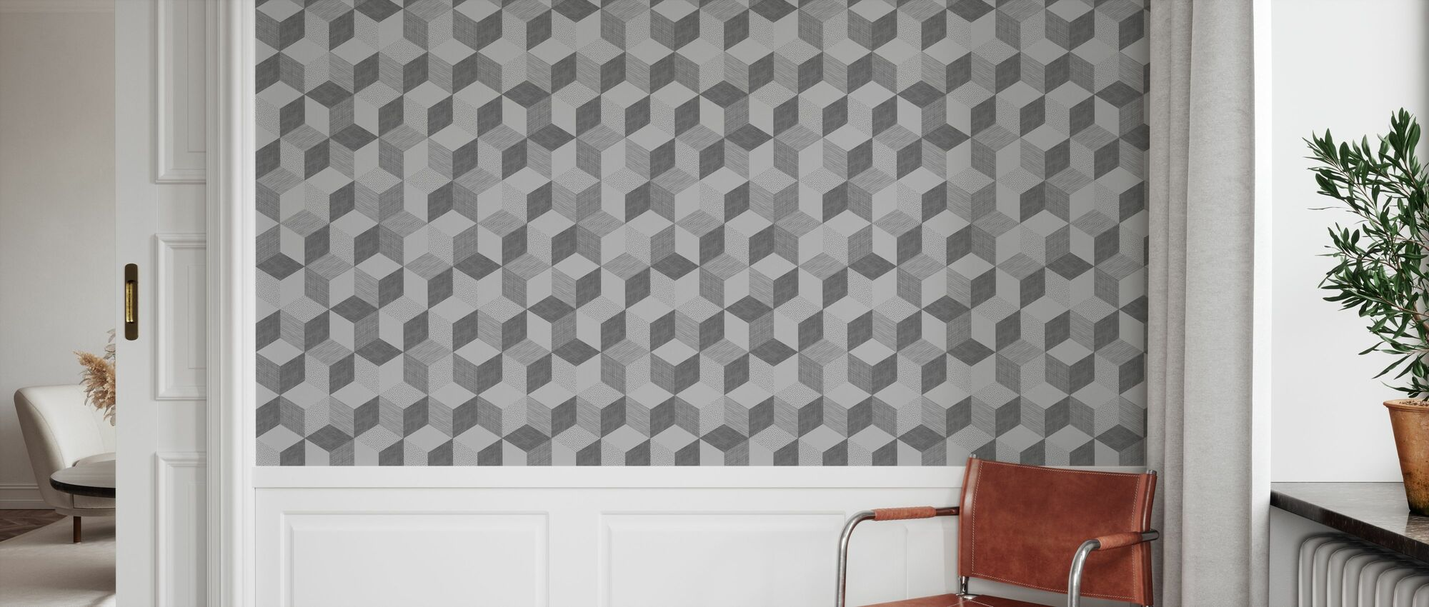Hexagon Concrete - Wallpaper - Hallway