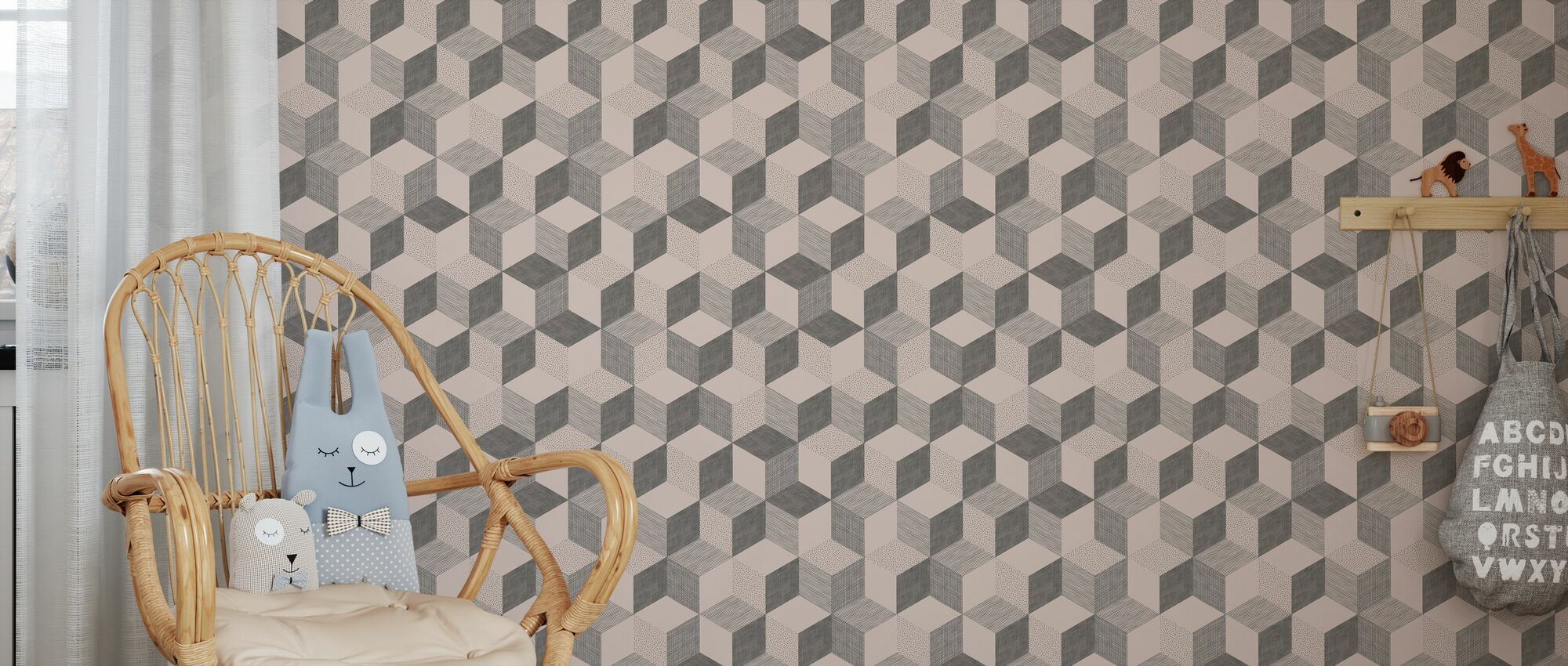 Hexagon Nude - Wallpaper - Kids Room