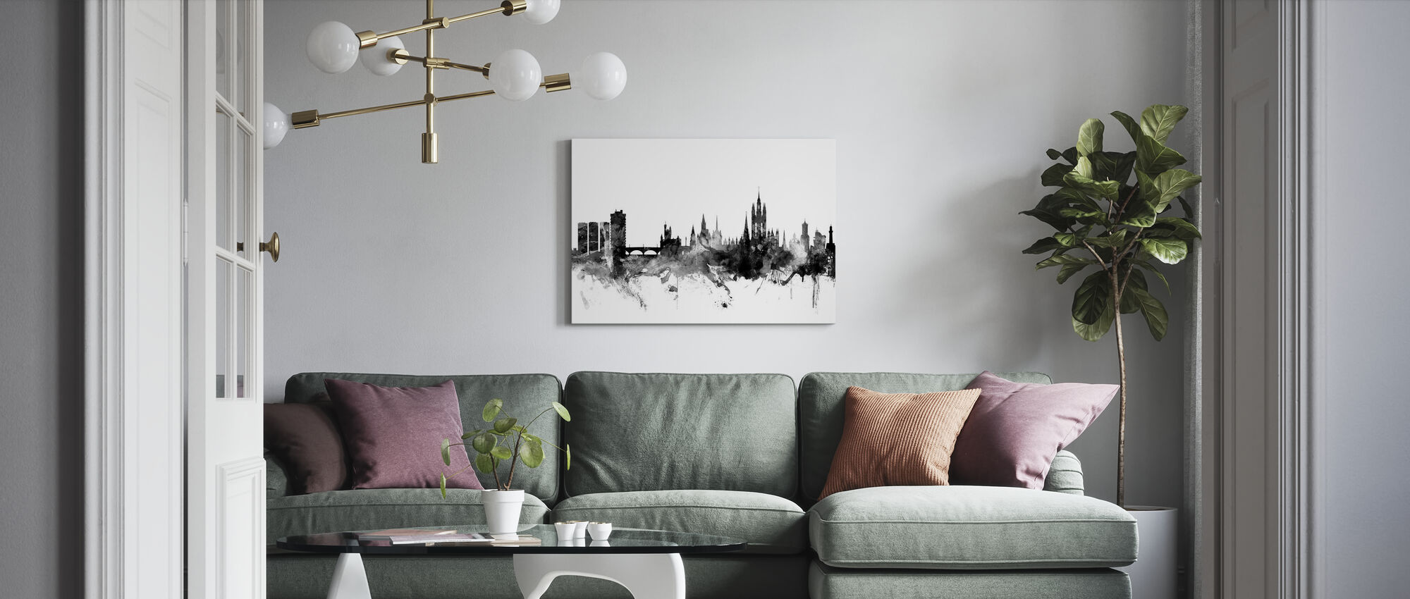 Aberdeen Scotland Skyline Black - Canvas print - Living Room