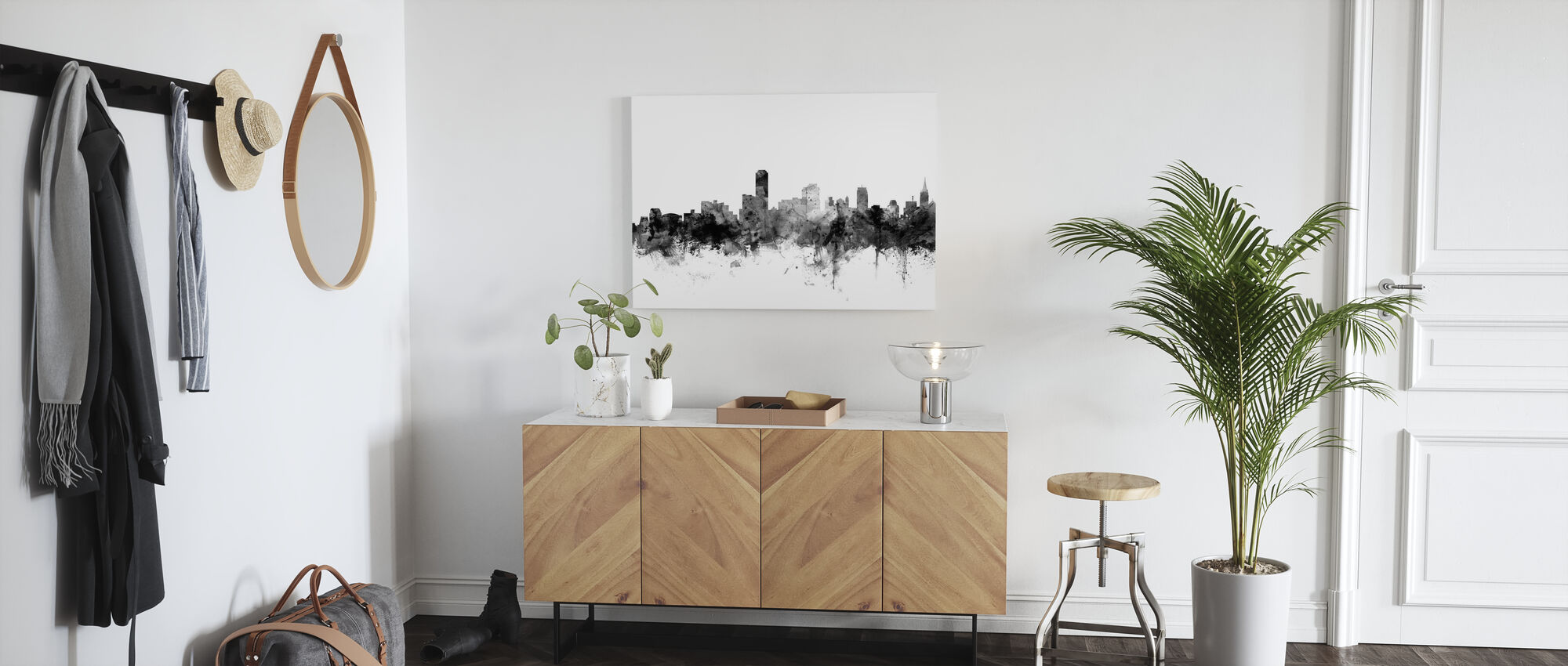 Adelaide Australien Skyline Svart - Canvastavla - Hall
