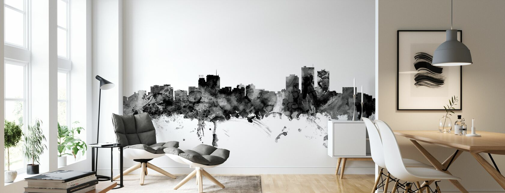Anchorage Alaska Skyline Black - Wallpaper - Living Room