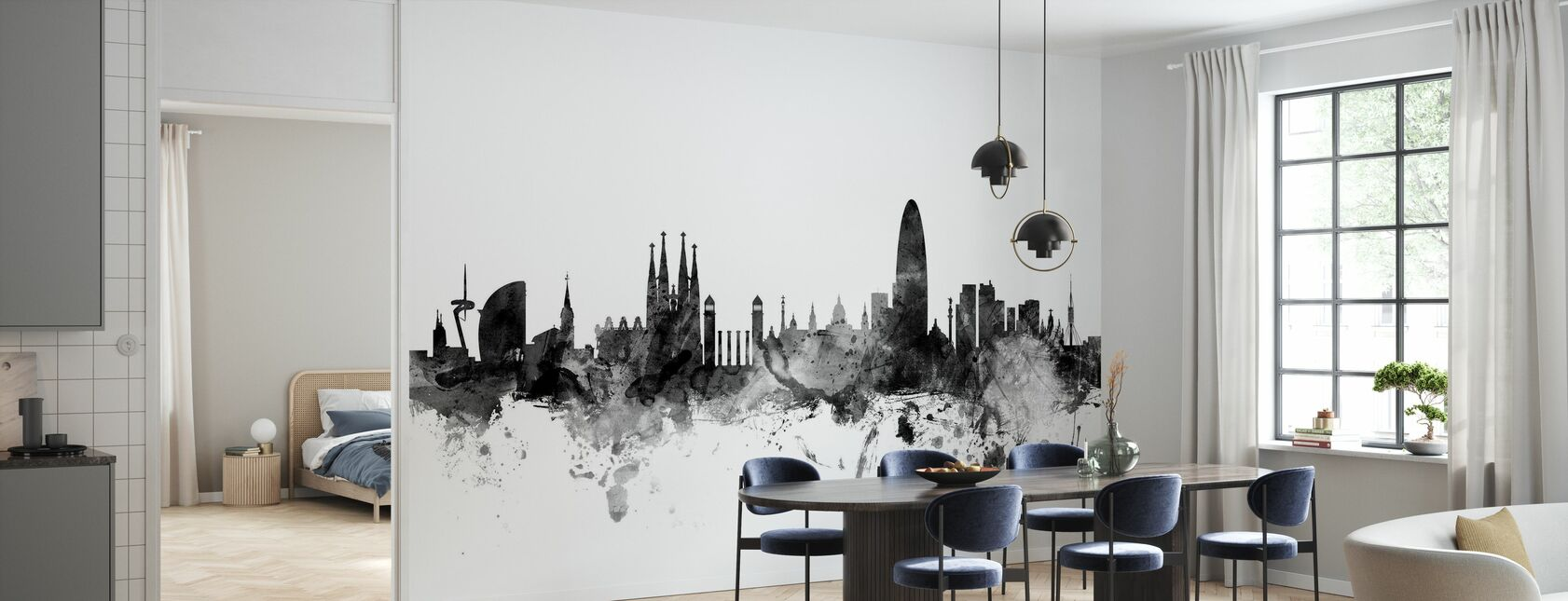 Barcelona Skyline Black - Wallpaper - Kitchen