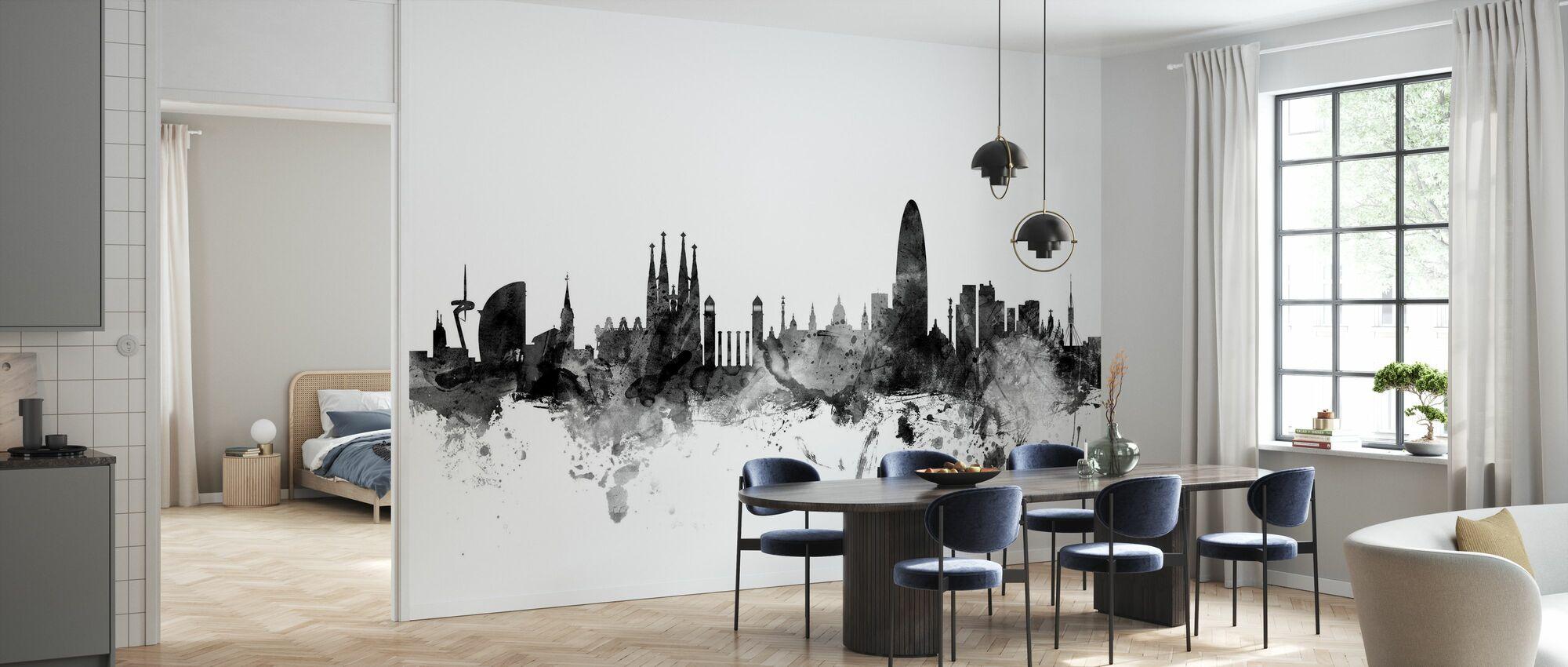 Barcelona Skyline svart - Tapet - Kjøkken