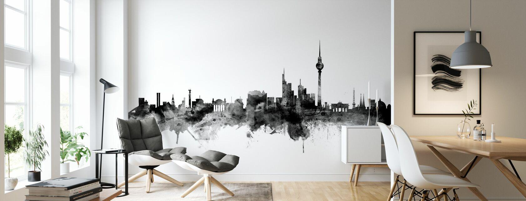 Berlin Skyline Schwarz - Tapete - Wohnzimmer
