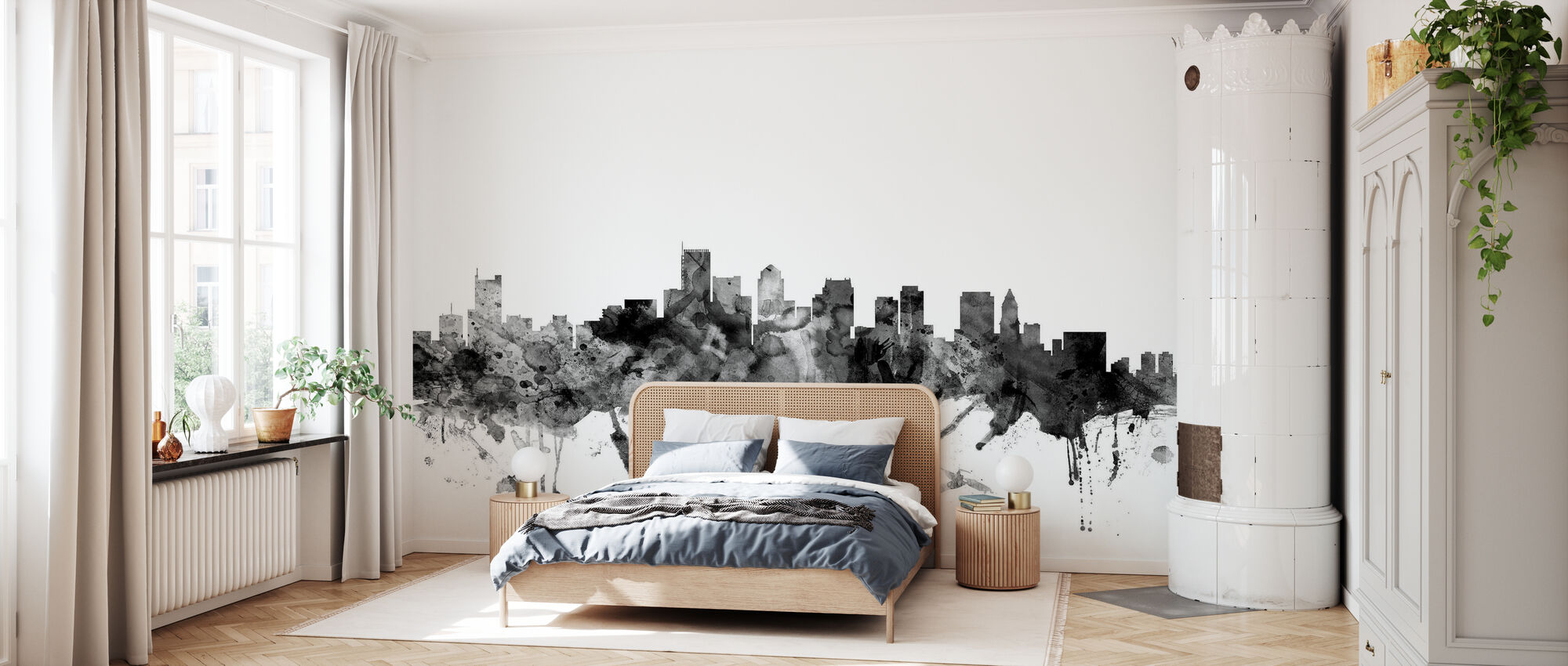 Boston Massachusetts Skyline Black - Wallpaper - Bedroom