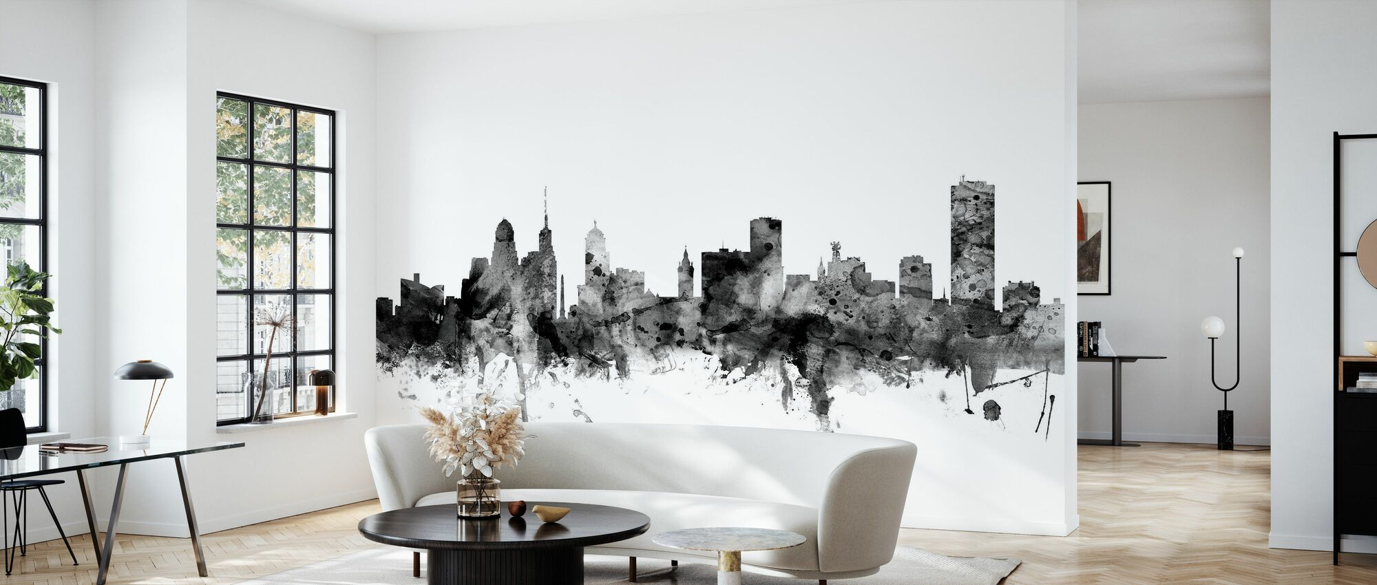 Buffalo New York Skyline Black - Wallpaper - Living Room