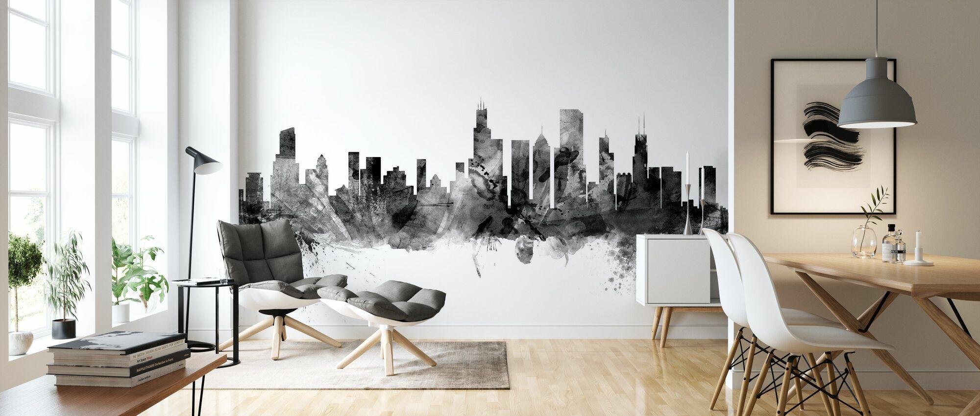 Chicago Skyline Black - Wallpaper - Living Room