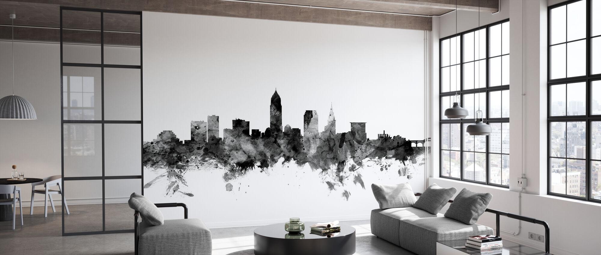 Cleveland Ohio Skyline Black - Wallpaper - Office