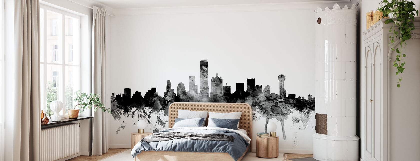 Dallas Texas Skyline Black - Wallpaper - Bedroom