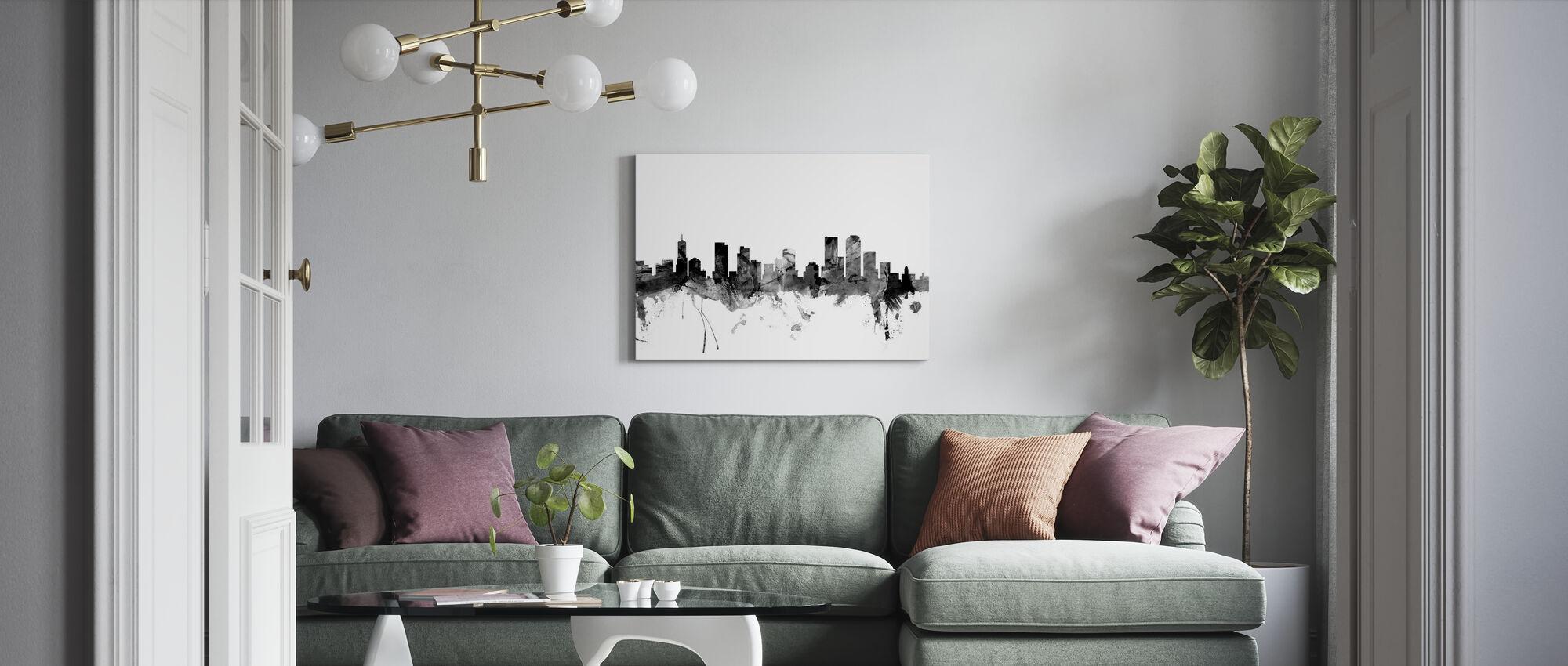 Denver Colorado Skyline Black - Canvas print - Living Room