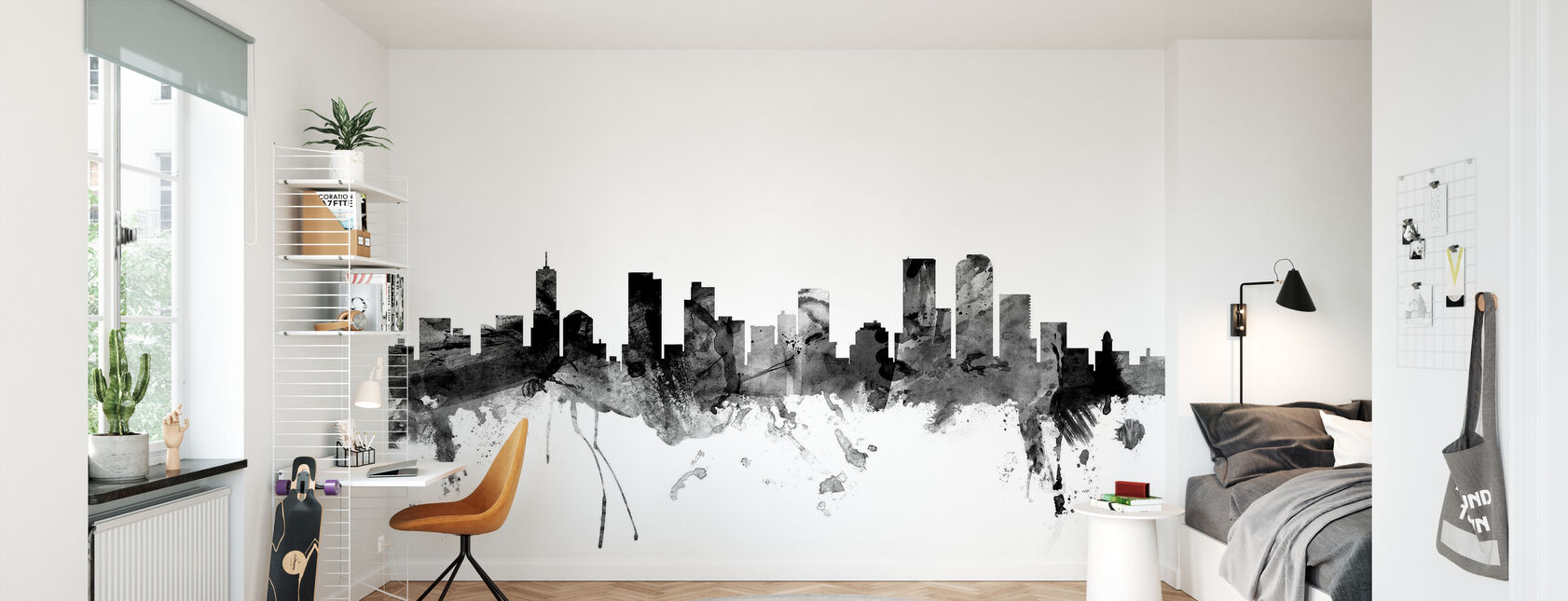 Denver Colorado Skyline Black - Wallpaper - Kids Room