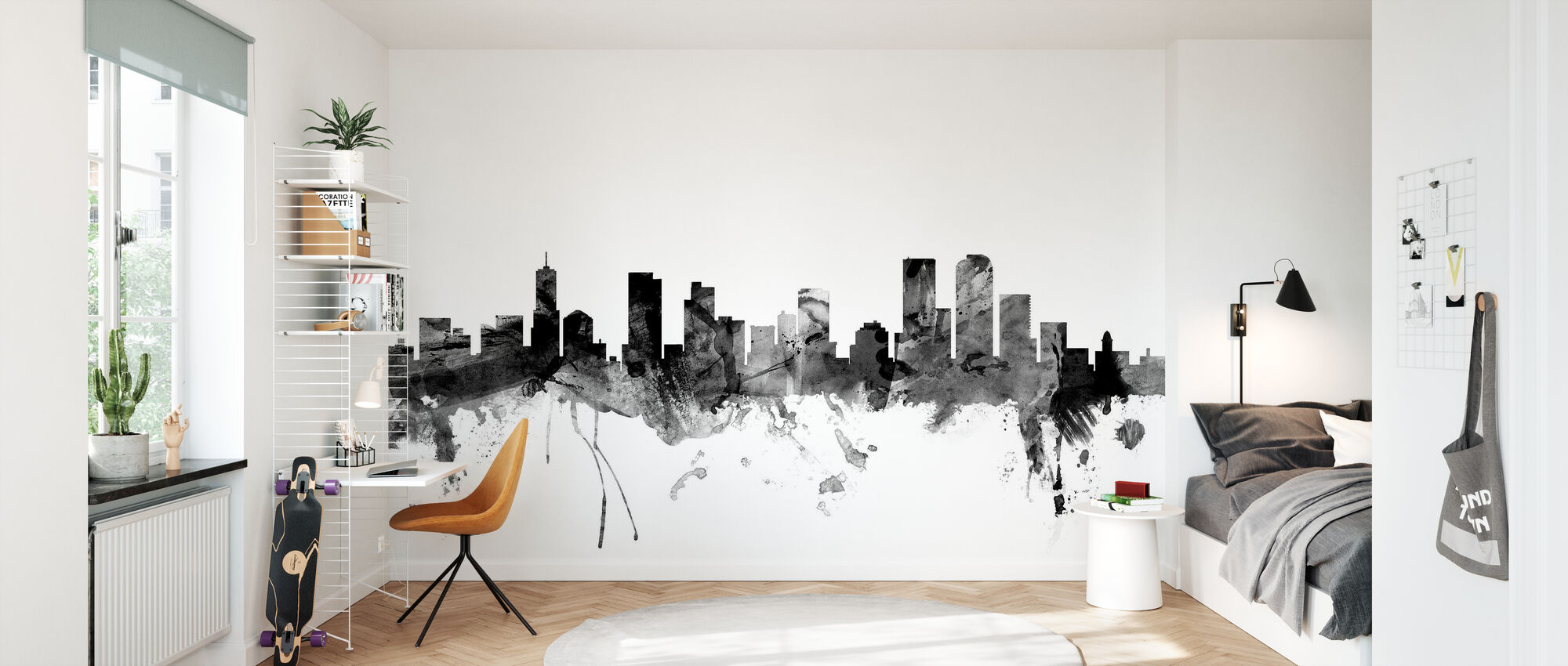 Denver Colorado Skyline Black - Wallpaper - Kids Room