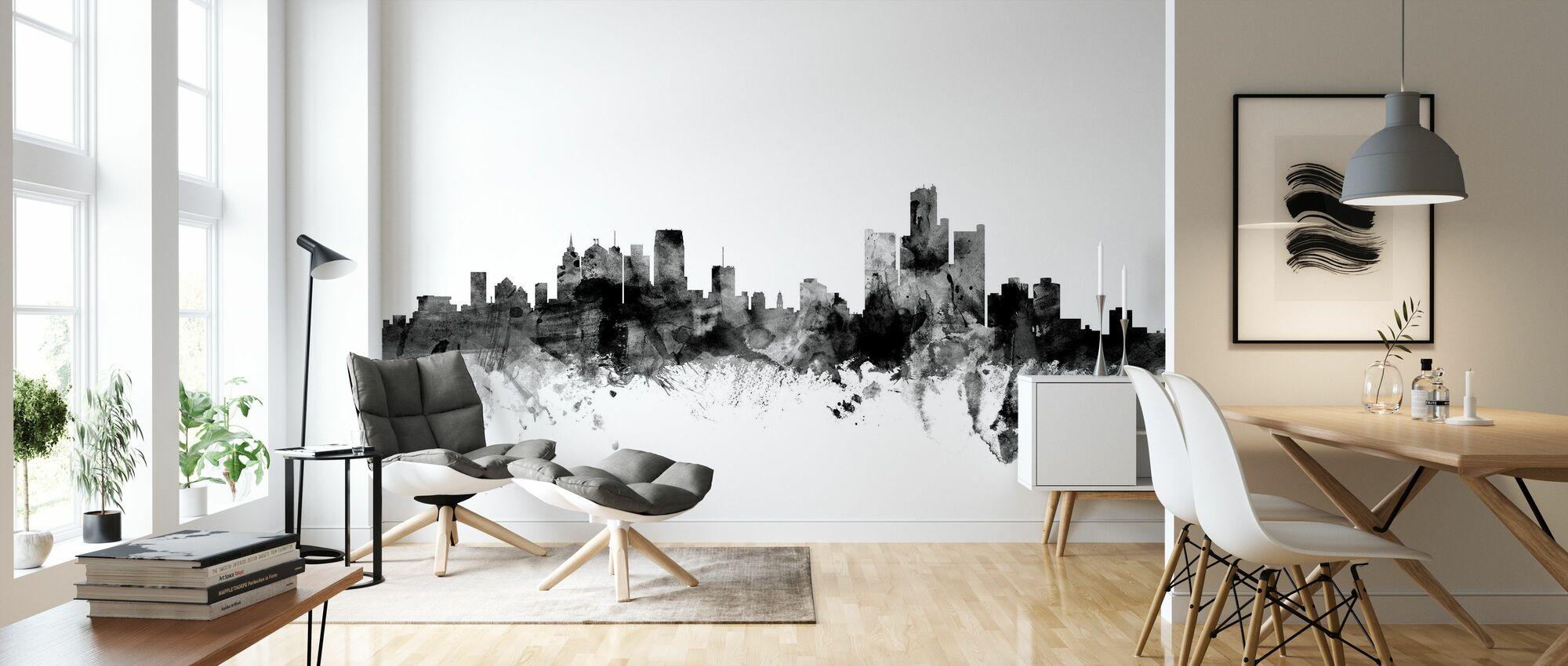 Detroit Michigan Skyline Sort - Tapet - Stue