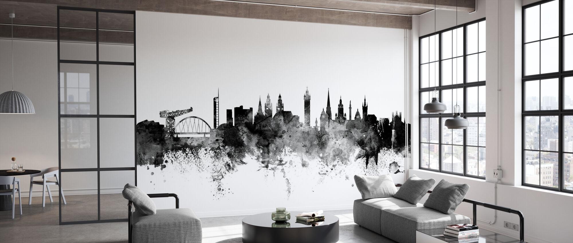 Glasgow Scotland Skyline Black - Wallpaper - Office