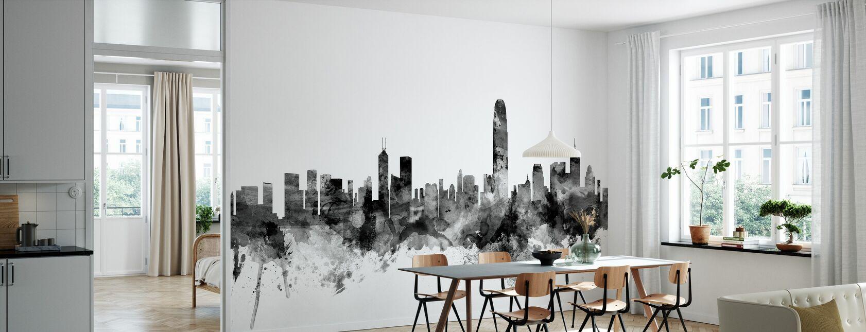 Hong Kong Skyline Black - Wallpaper - Kitchen