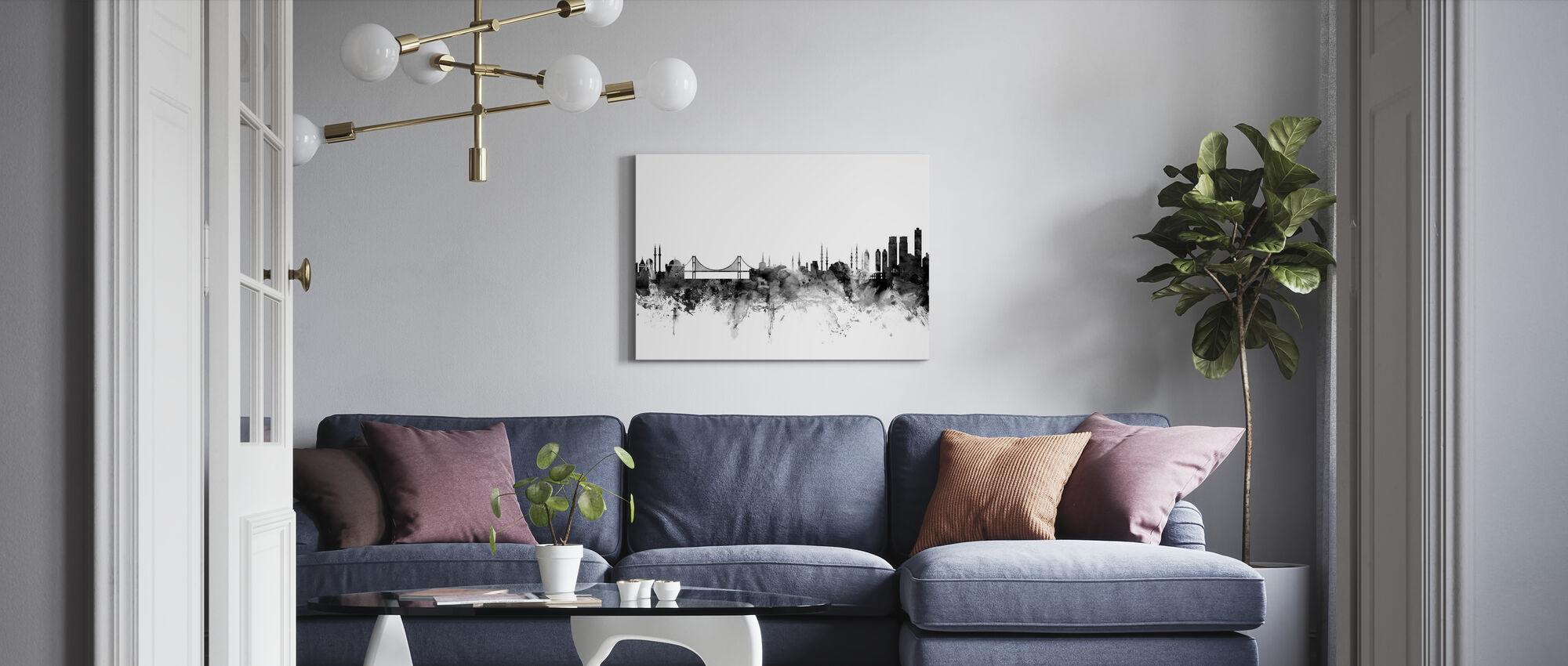 Istanbul Skyline Svart - Canvastavla - Vardagsrum