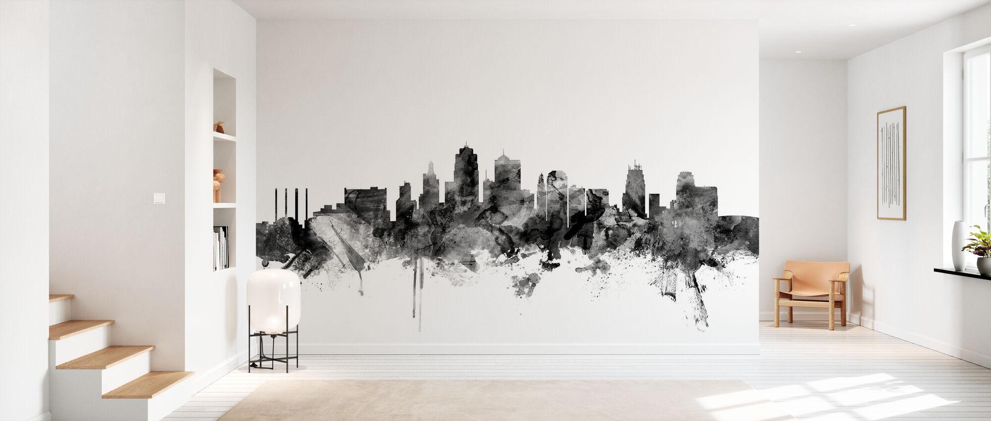Kansas City Skyline Black - Wallpaper - Hallway