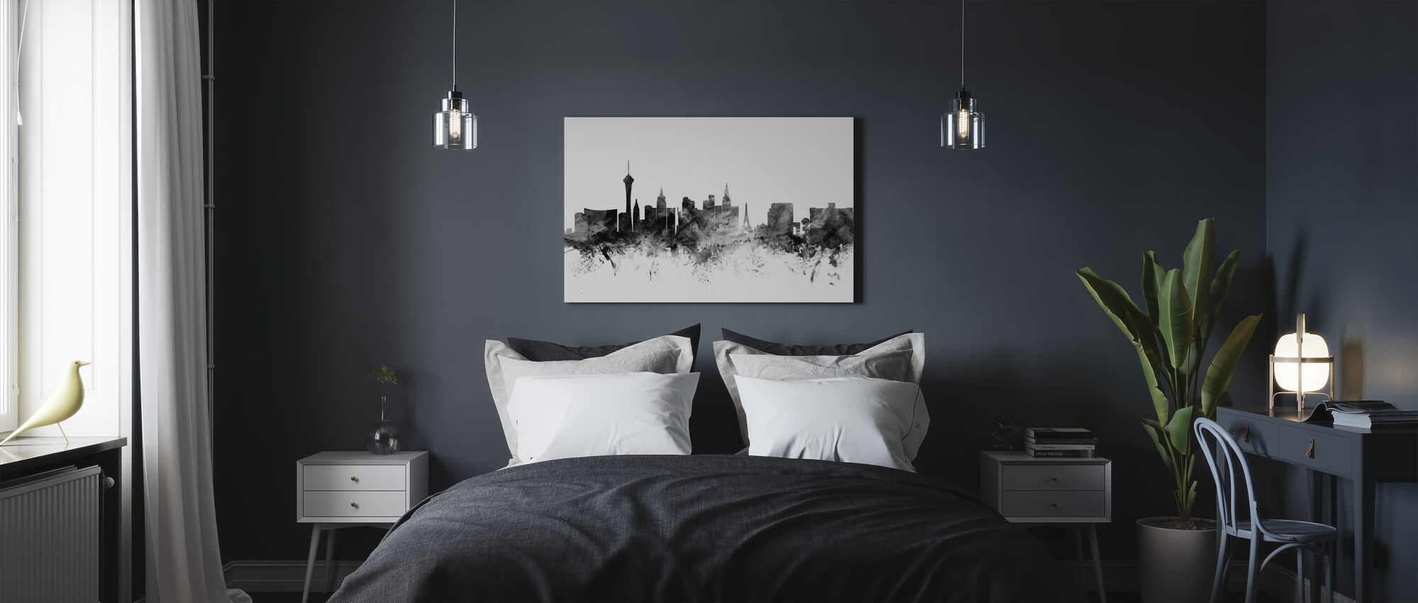 Las Vegas Skyline Black - Canvas print - Bedroom