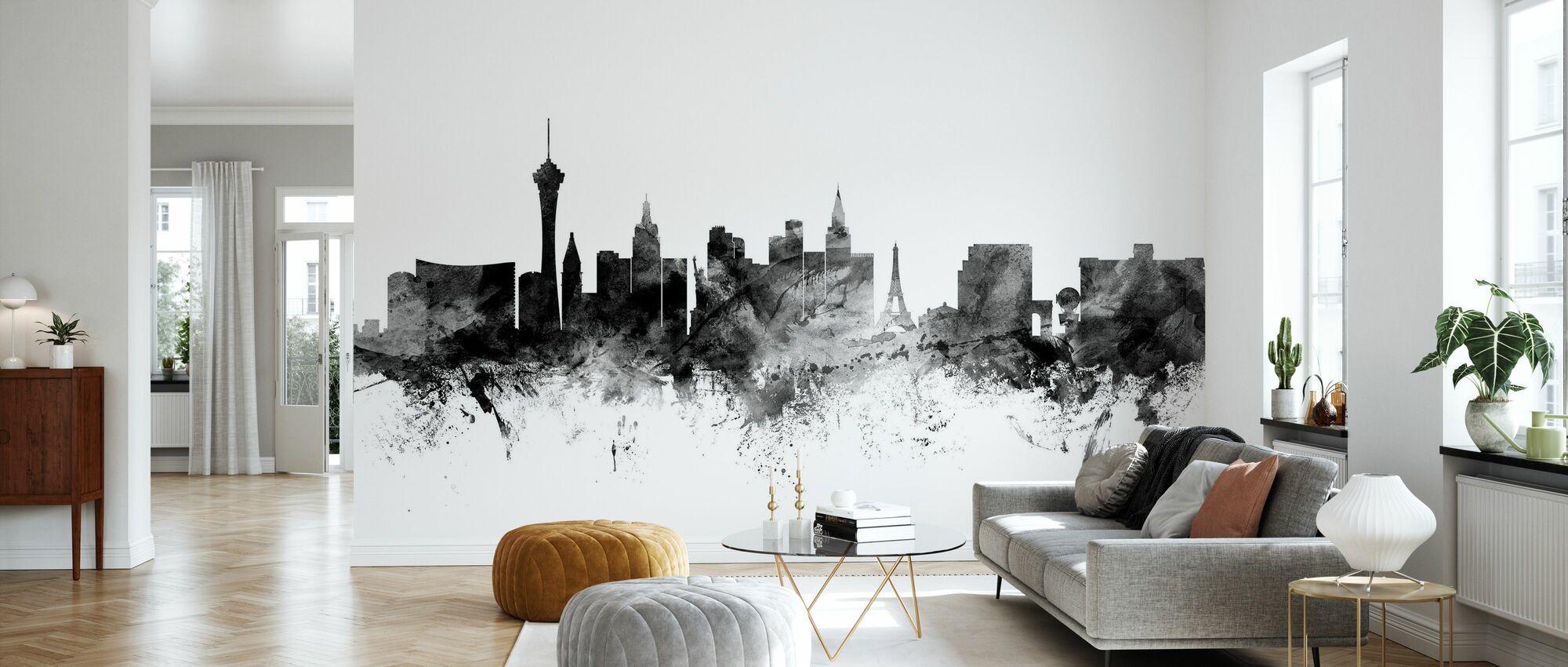 Las Vegas Skyline Black - Wallpaper - Living Room