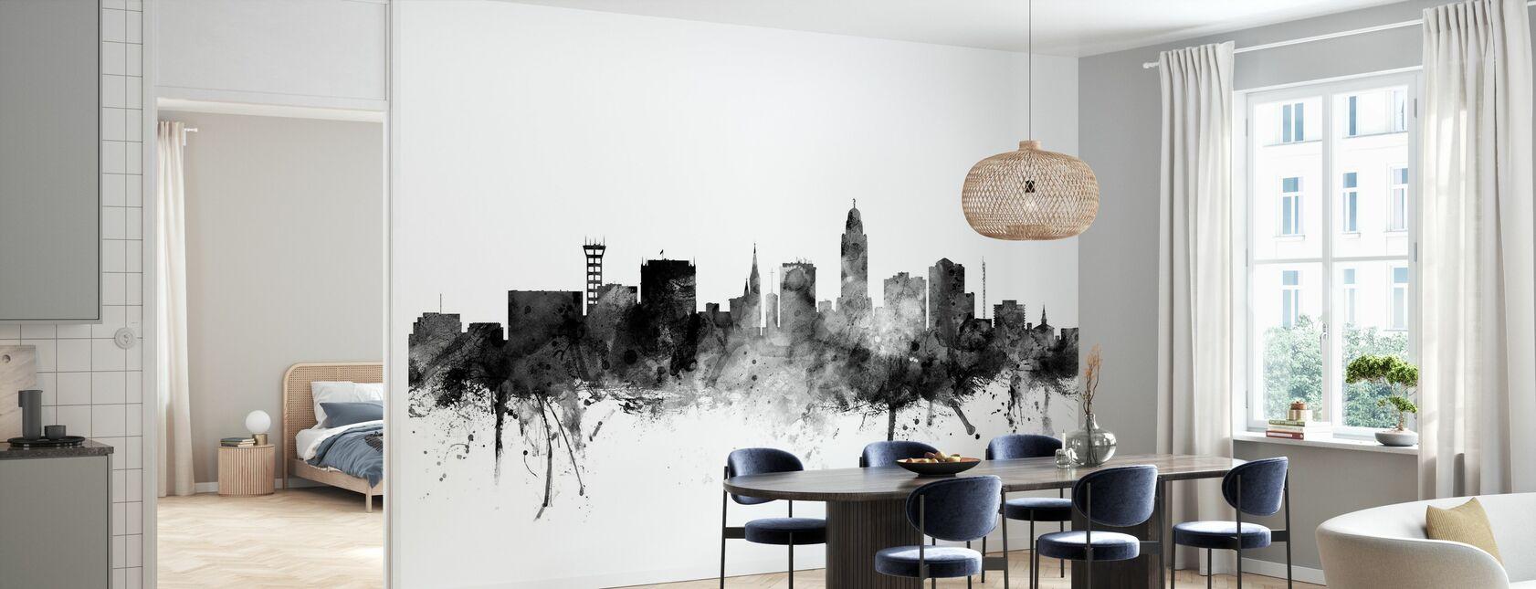 Lincoln Nebraska Skyline Black - Wallpaper - Kitchen