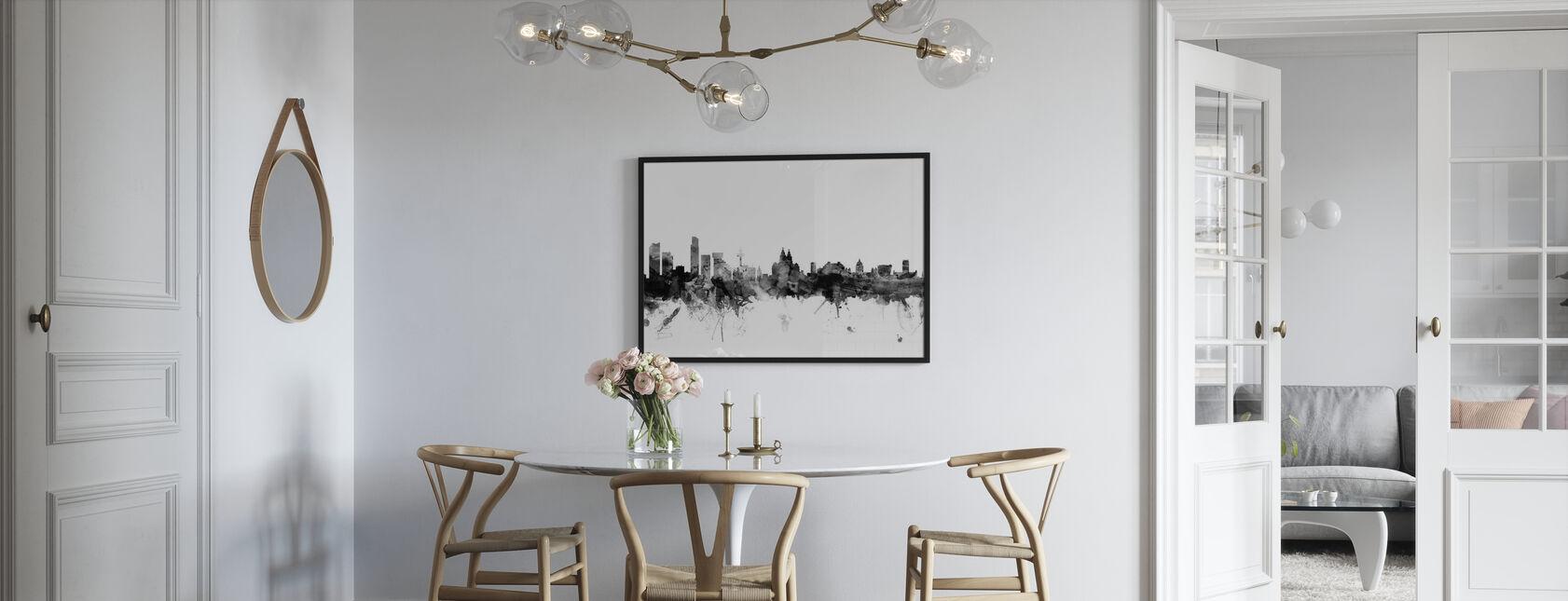Liverpool UK Skyline svart - Plakat - Kjøkken