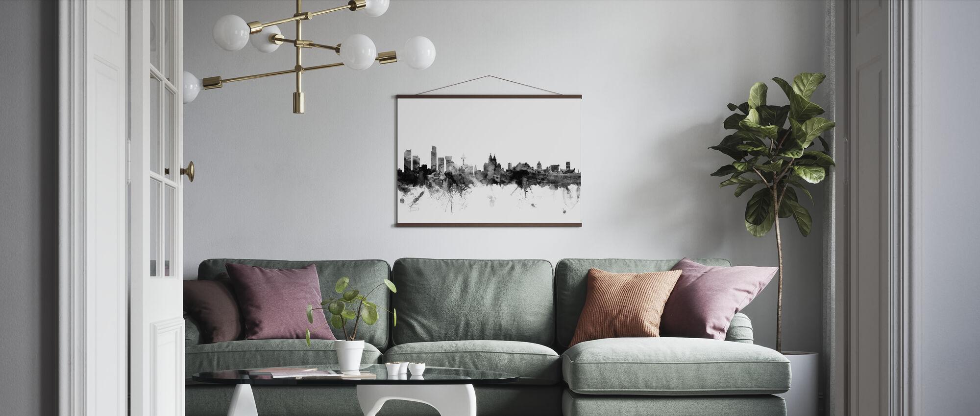 Liverpool UK Skyline Schwarz - Poster - Wohnzimmer