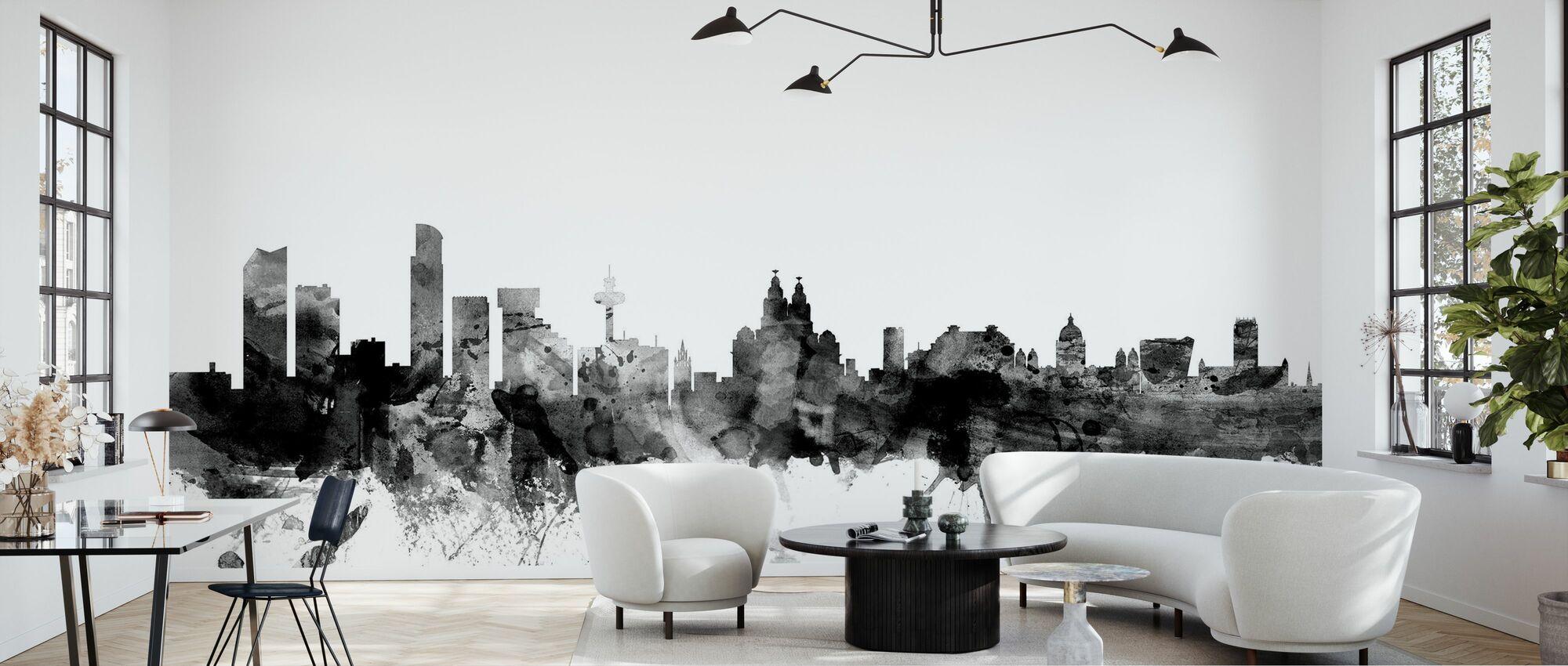 Liverpool UK Skyline Musta - Tapetti - Olohuone