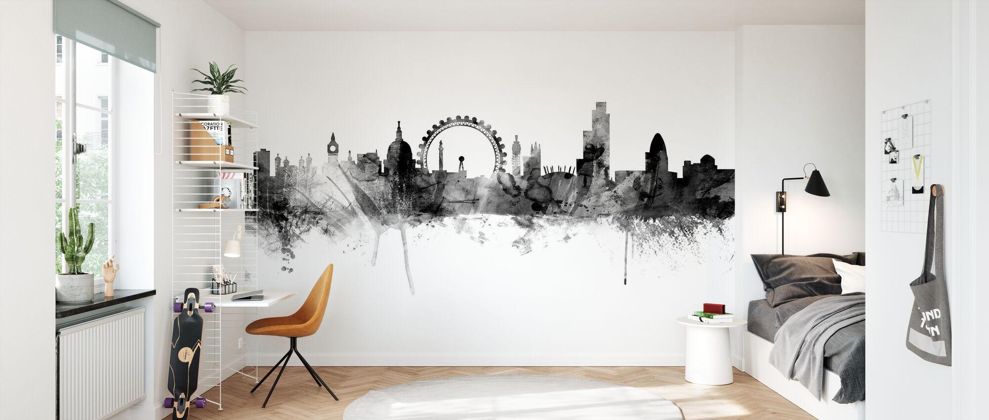 London Skyline svart - Tapet - Barnerom