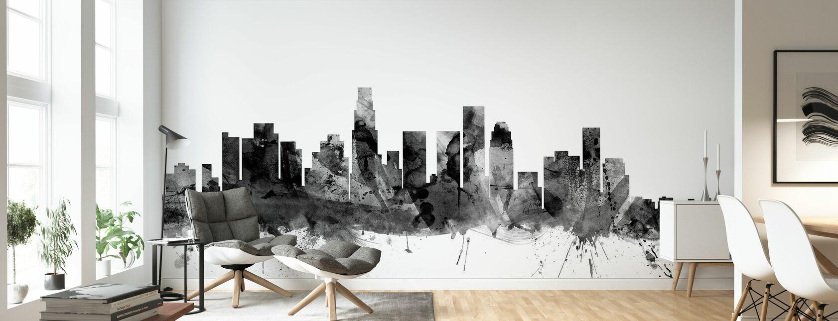 Los Angeles California Skyline Black - Wallpaper - Living Room