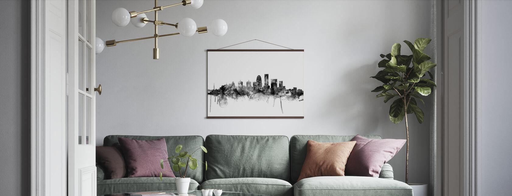 Louisville Kentucky Skyline Musta - Juliste - Olohuone