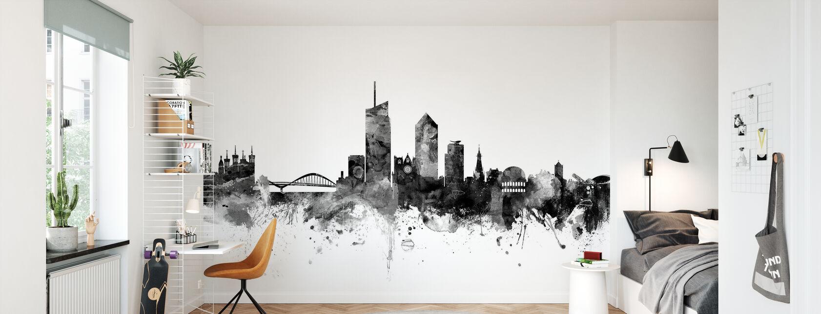 Lyon Skyline Noir - Papier peint - Chambre des enfants