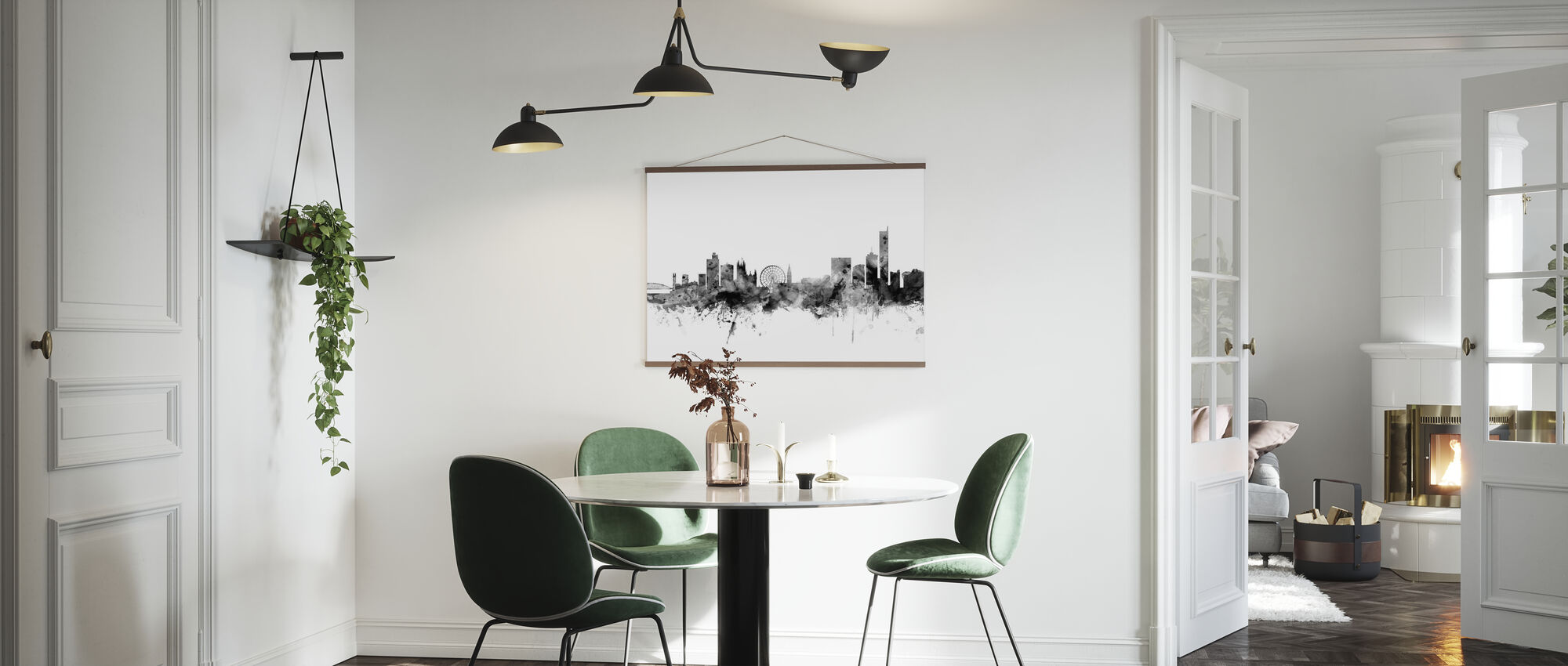 Manchester UK Skyline Black - Poster - Kitchen