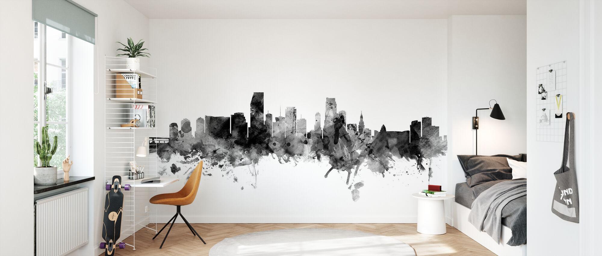 Miami Florida Skyline Black - Wallpaper - Kids Room