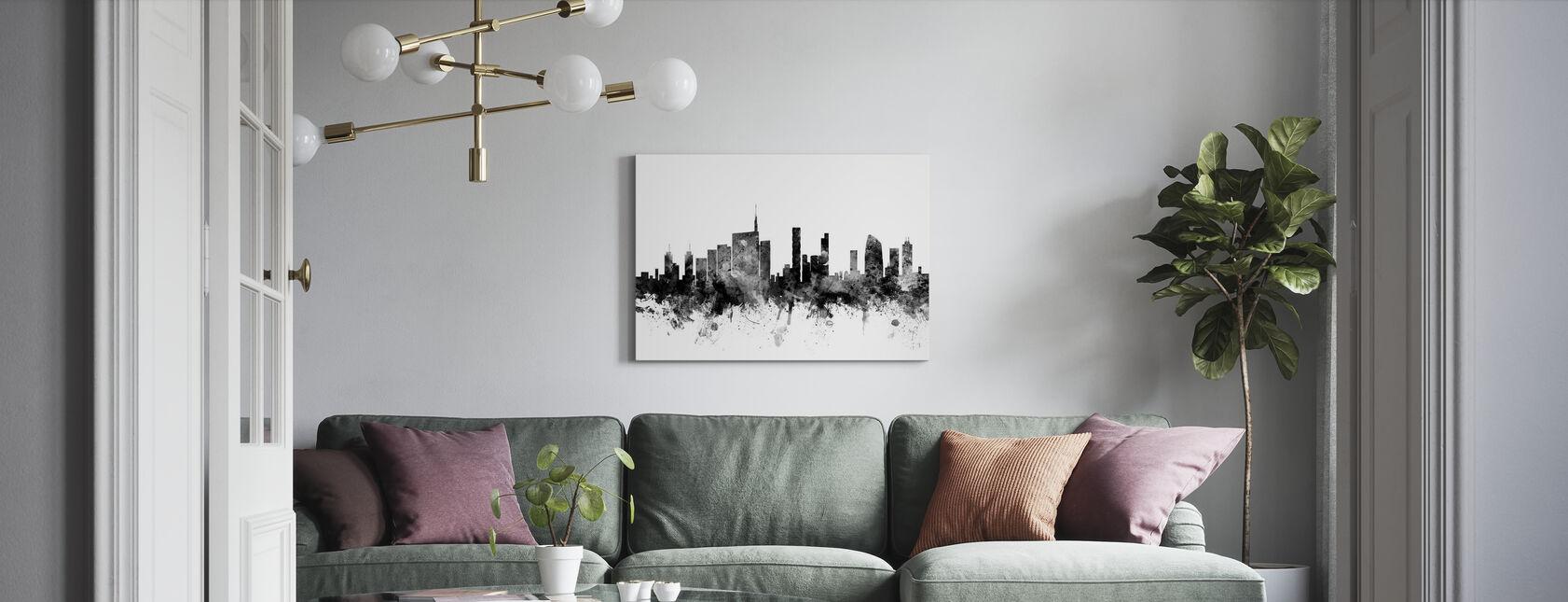 Milano Skyline Nero - Stampa su tela - Salotto