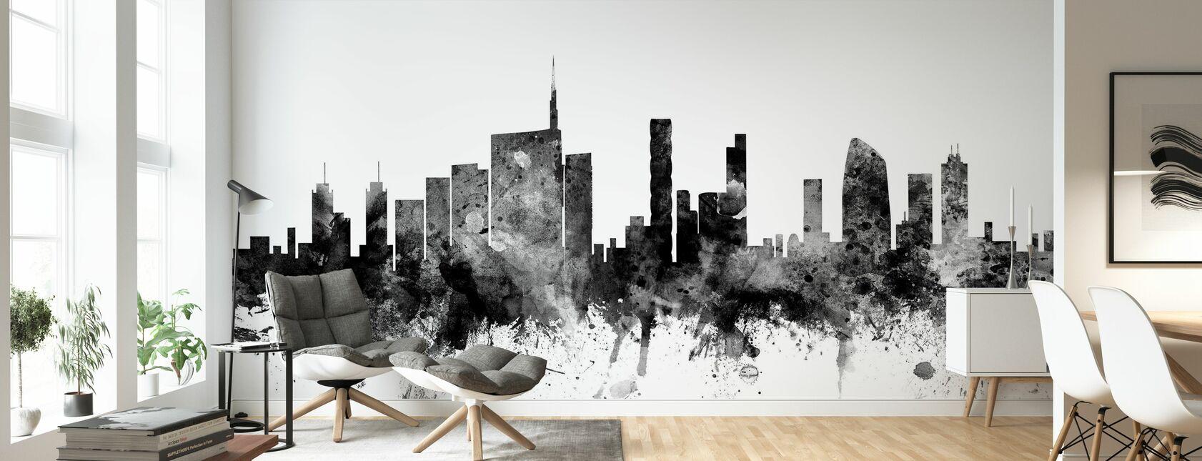 Milan Skyline Noir - Papier peint - Salle à manger