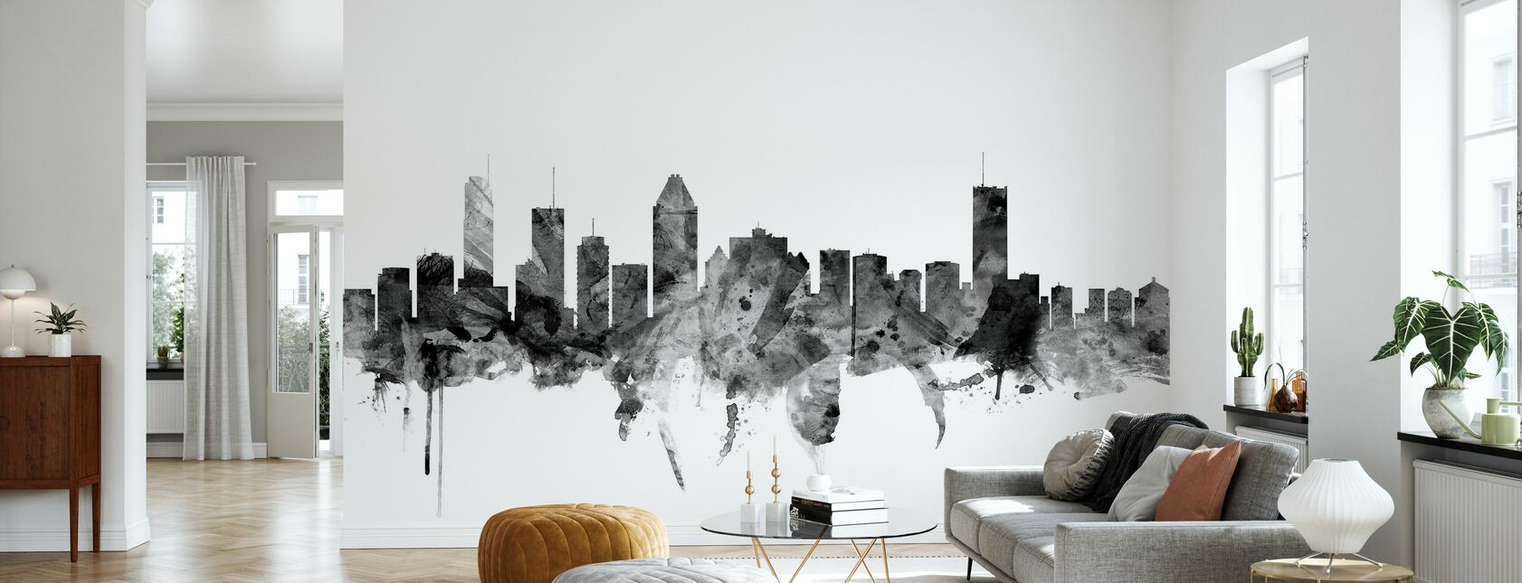 Montreal Skyline Black - Wallpaper - Living Room