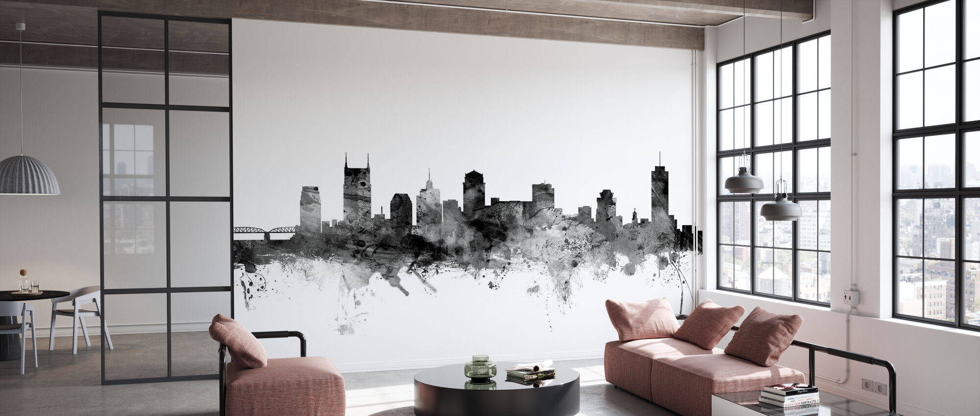 Nashville Tennessee Skyline Black - Wallpaper - Office