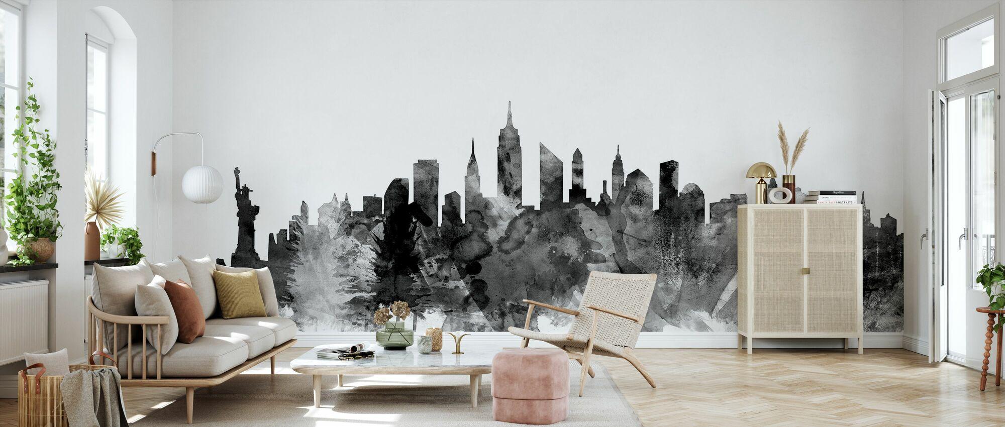 New York City Skyline Svart 2 - Tapet - Vardagsrum