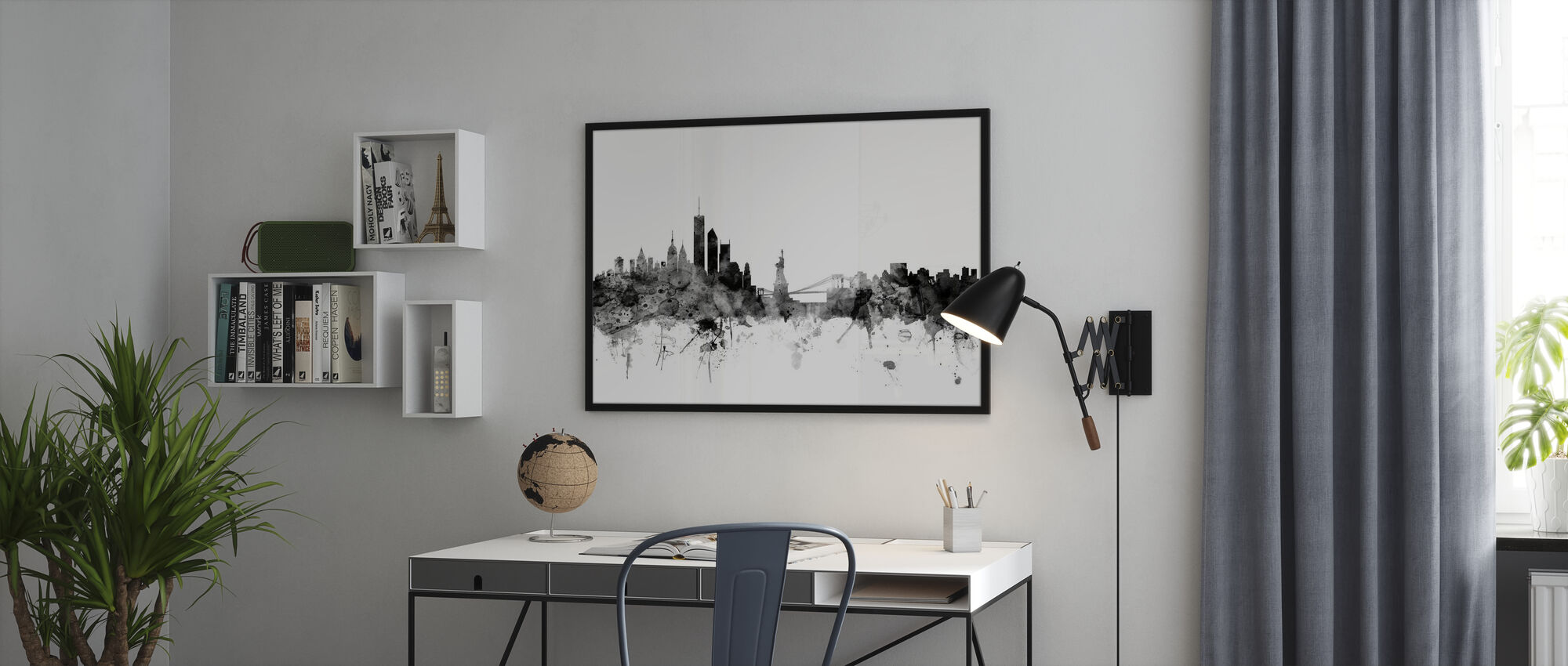 Ny York Skyline Svart - Plakat - Kontor