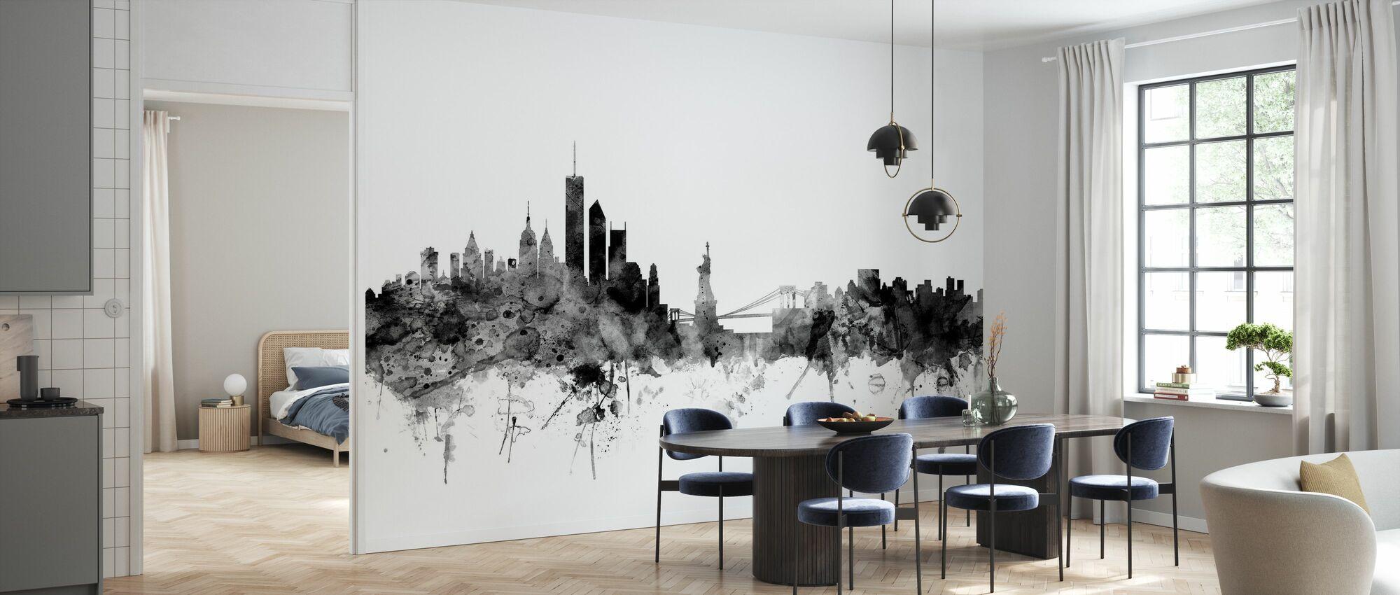 New York Skyline Black - Wallpaper - Kitchen